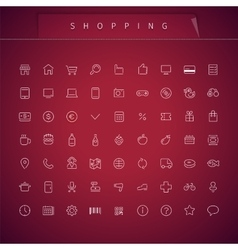 Shopping Thin Icons Set vector image