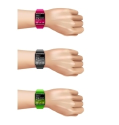 Smart watch on hand decorative icon set vector