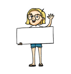 smiling cartoon girl holding a blank board and vector image