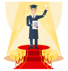 Student on red carpet vector