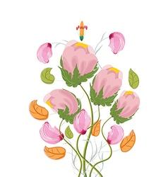 Stylized Poppy flowers watercolor vector