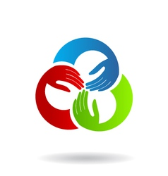 Teamwork Hands 3 Logo vector image