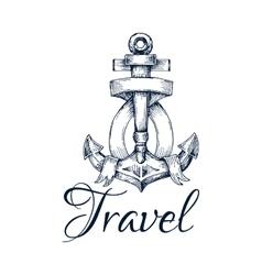 Travel icon Anchor and ribbon node emblem vector image