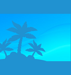 Tropical landscape palm under clean blue vector