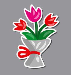tulip flowers bouquet cartoon sticker vector image