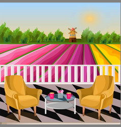 Two armchairs terrace view rural background with vector