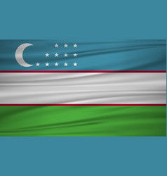 uzbekistan flag flag of uzbekistan blowig in the vector image