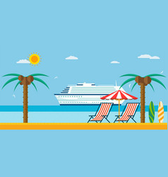 vacation and travel sea beach with lounger and vector image