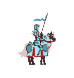 valorous royal knight riding horse with shield and vector image