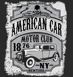 Vintage car tee graphic design vector