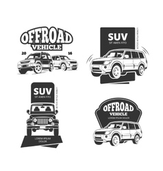 Vintage suv car badges labels logos vector