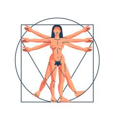 Vitruvian woman vector