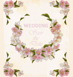 wedding wreath frame with cherry flowers vector image