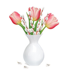 willow twigs tulips in white vase vector image