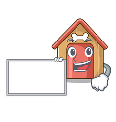 with board cartoon funny dog house with dish vector image