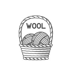 wool emblem with merino sheep label for hand made vector image