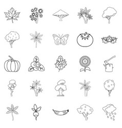 world of nature icons set outline style vector image