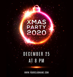 xmas party 2020 poster template neon light circle vector image