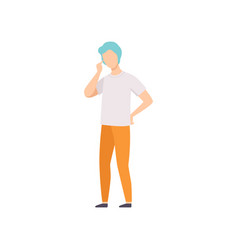 young man in casual clothes thinking of something vector image