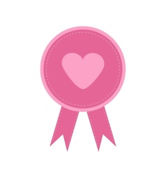 Badge with heart and ribbons Award icon in flat vector image