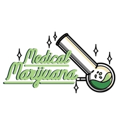 Color vintage medical marijuana emblem vector image