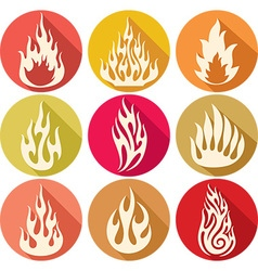 Flame Icon Set vector image vector image