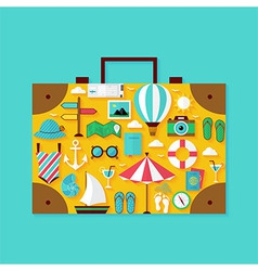 Flat Vacation Summer Holiday Objects Set vector image vector image