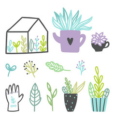 set of cute plants vector image