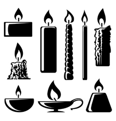 black and white silhouette burning candles vector image