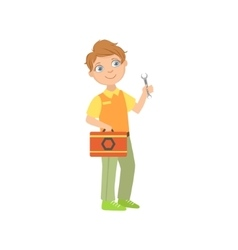 Boy Dressed As Plumber Holding A Wrench vector image vector image