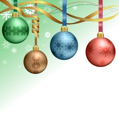 Christmas balls hanging on ribbons vector image