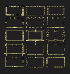 golden rectangle frames and borders emblem set vector image