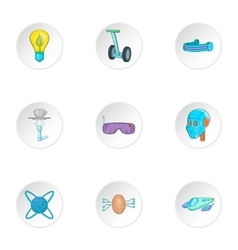 Innovative device icons set cartoon style vector
