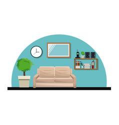 living room sofa pot tree clock cabinet book vector image vector image