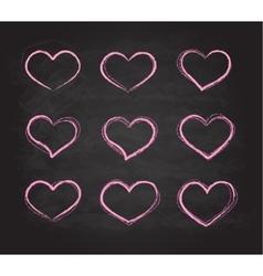 Retro scribble grunge chalk heart symbols vector image