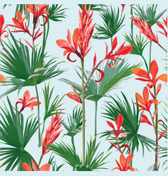 seamless flowers and palm leaves background vector image