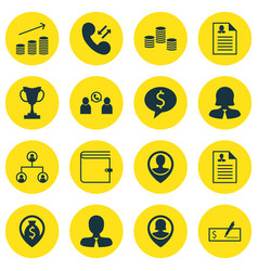 set of 16 management icons includes money coins vector image vector image