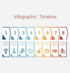 timeline infographic for eight position vector image vector image