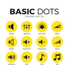 volume flat icons set vector image