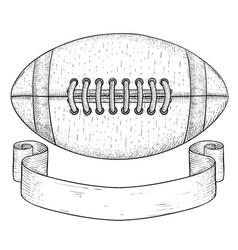 american football ball with ribbon banner hand vector image vector image