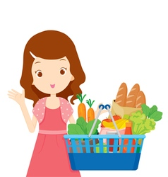 Cute girl holding shopping baskets full of eating vector image vector image