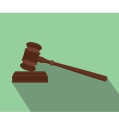 gavel isolated flat with long shadow green vector image vector image