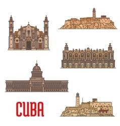 Landmarks and sightseeings of cuba vector