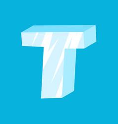 Letter t ice font icicles alphabet freeze vector