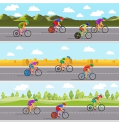 Racing bicyclists on bikes Seamless panoramic vector image vector image