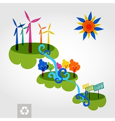 Go green city wind mills trees solar panels and vector