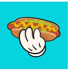 llustration with hotdog and holding hand vector image vector image