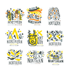 nothern set for label design winter vacations vector image vector image