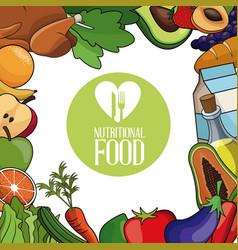 nutritional food menu dinner card vector image