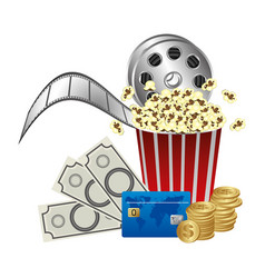 pop corn film production and clipart money vector image